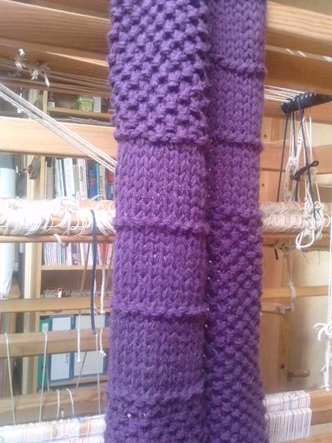 Echarpe en laine azurite tricotée en 15mm